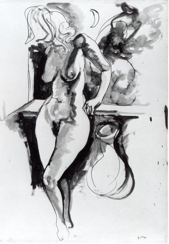 nudo sul balcone